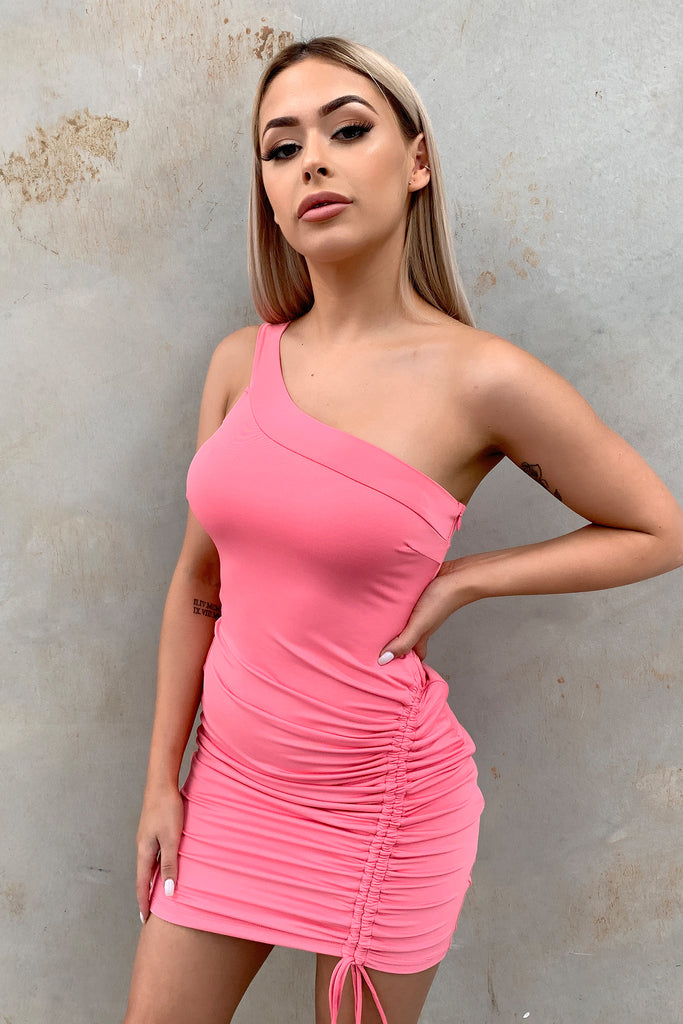 Verona One Shoulder Dress - Hot Pink