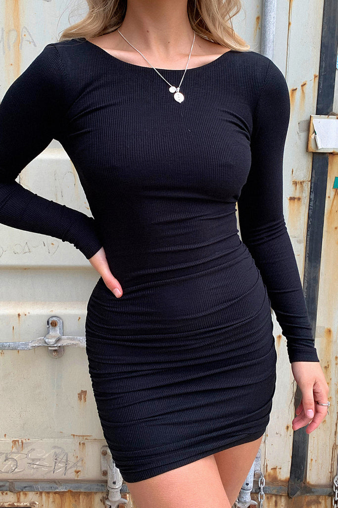 Brigitta Long Sleeve Dress - Black