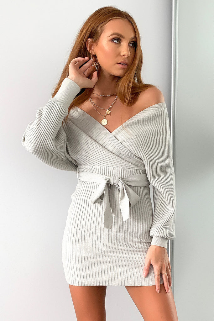 Blane Knitted Dress  - Grey