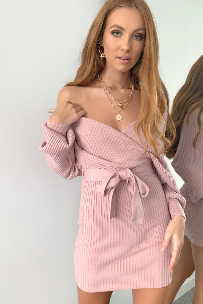 Blane Knitted Dress  - Blush