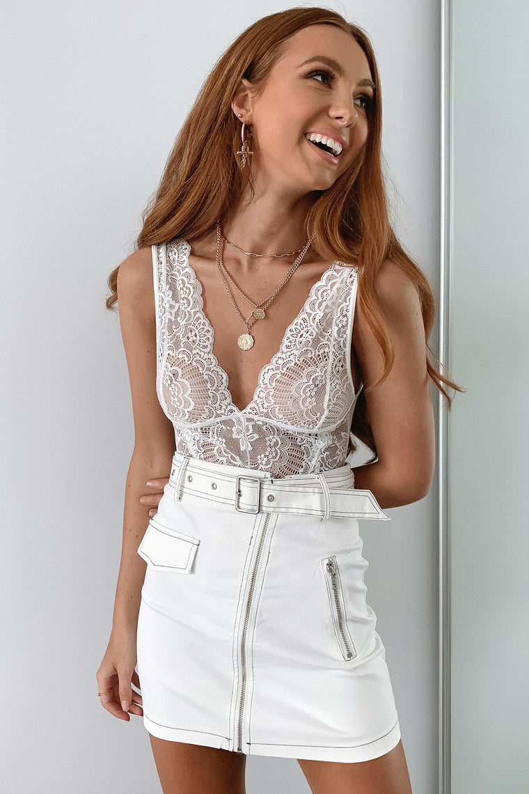 Mavis Lace Bodysuit - White
