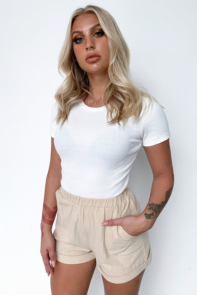 Asher Cropped Tee - White