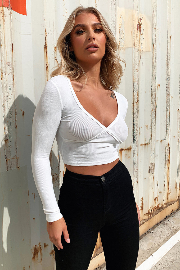 Ringer Long Sleeve Crop - White