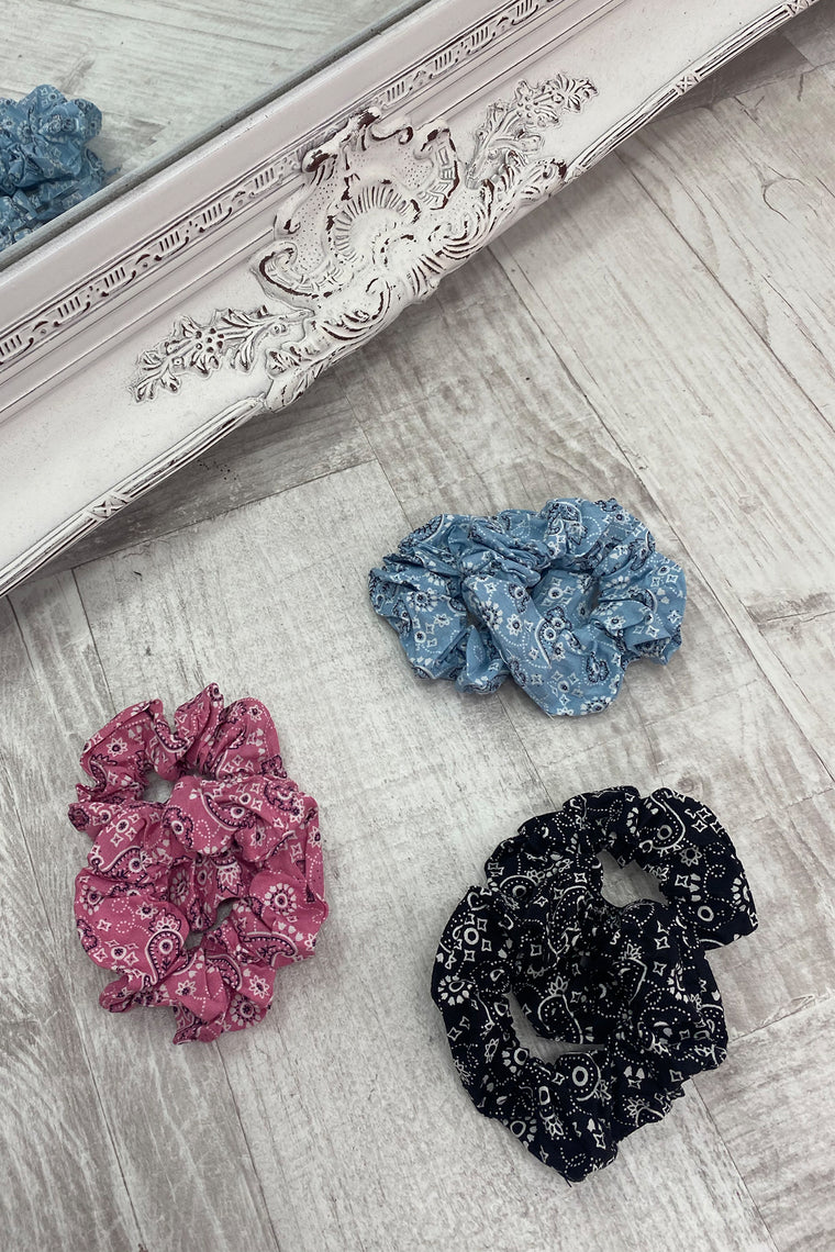 Bandana Scrunchie Pack - Pink/Black/Blue