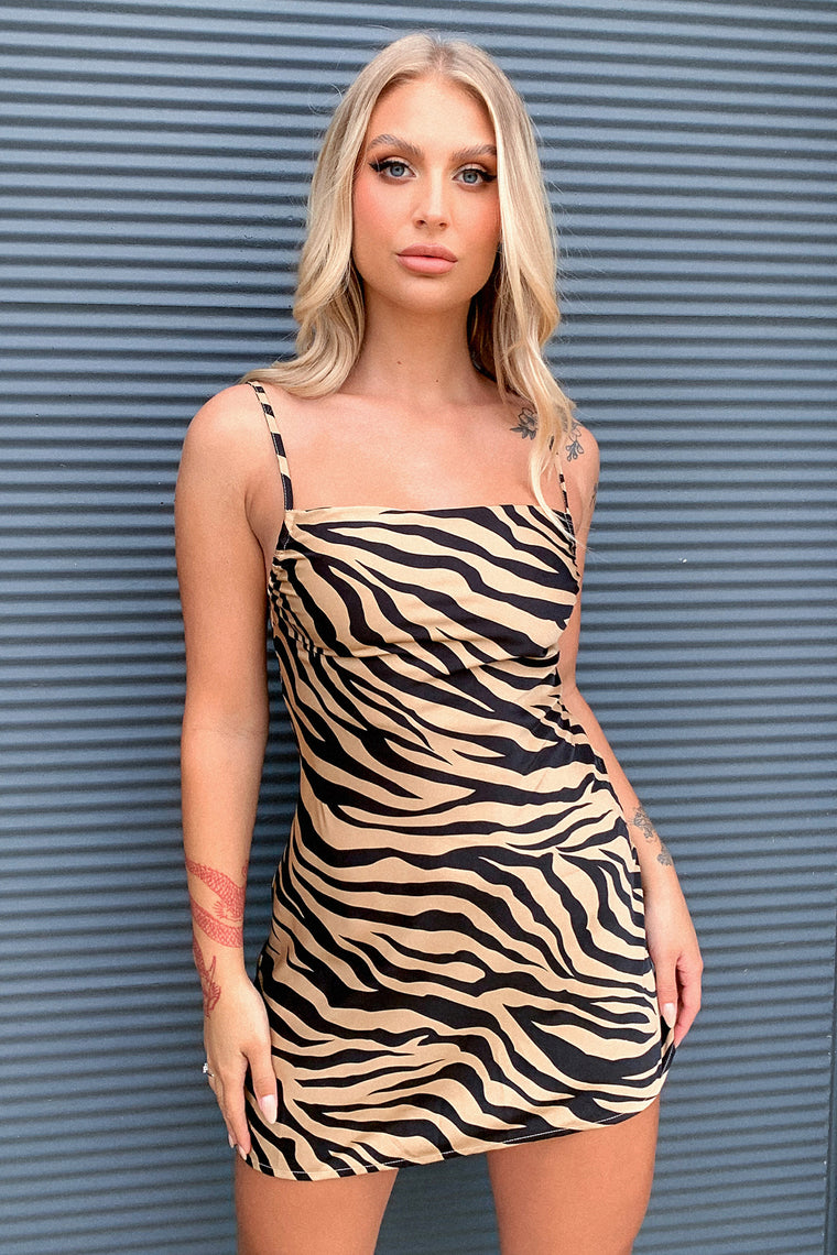 Boston Dress - Brown Zebra Print