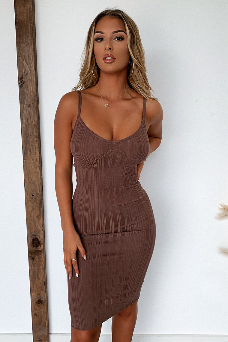Britney Midi Dress - Brown