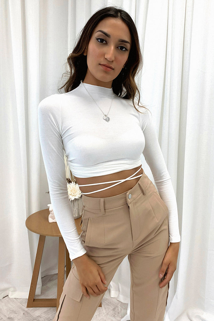 Honey Long Sleeve Crop - White