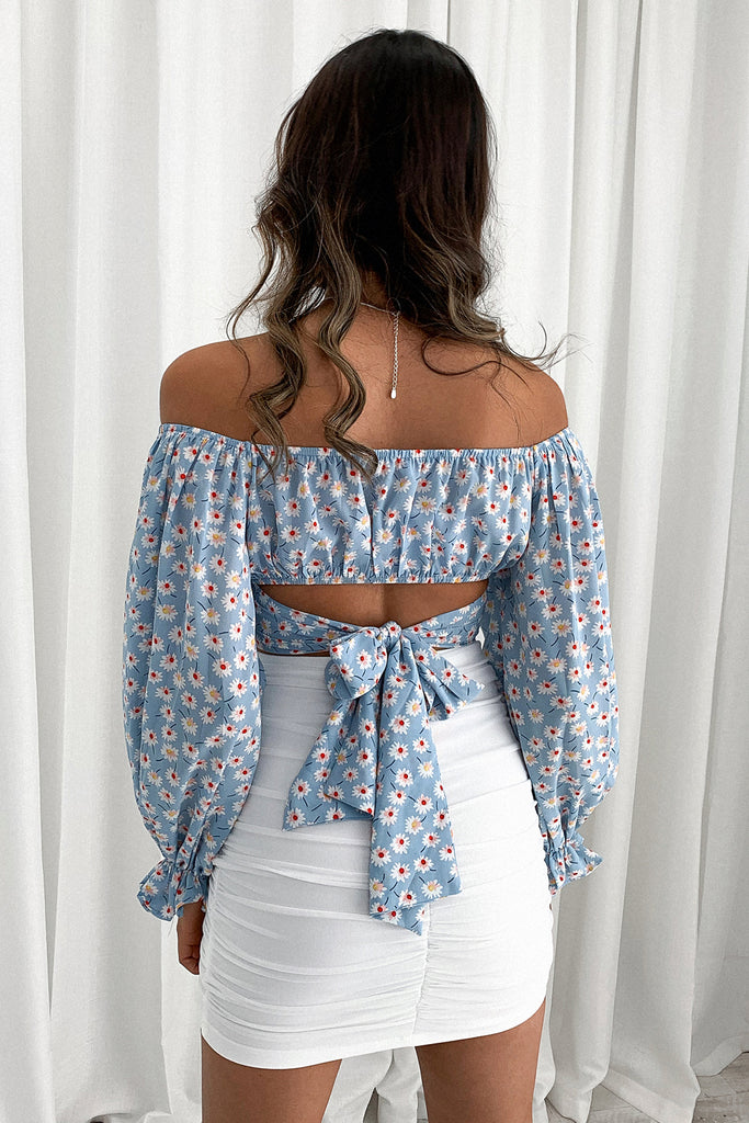 Elliot Long Sleeve Crop - Sky Blue Floral