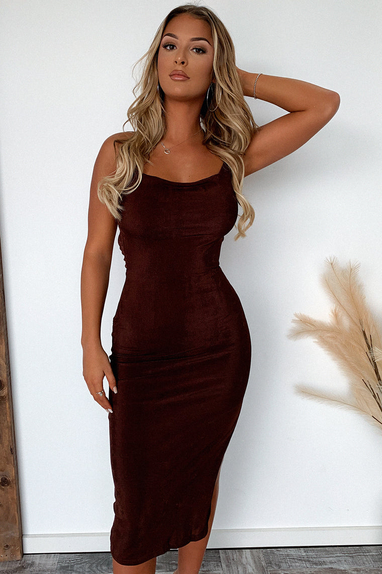 June Midi Dress - Brown