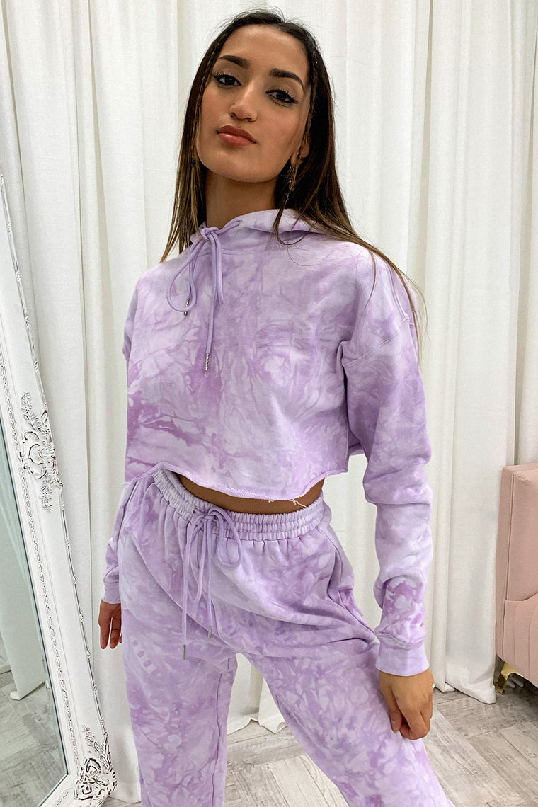 Kamakazi Cropped Sweater - Purple Tie Dye