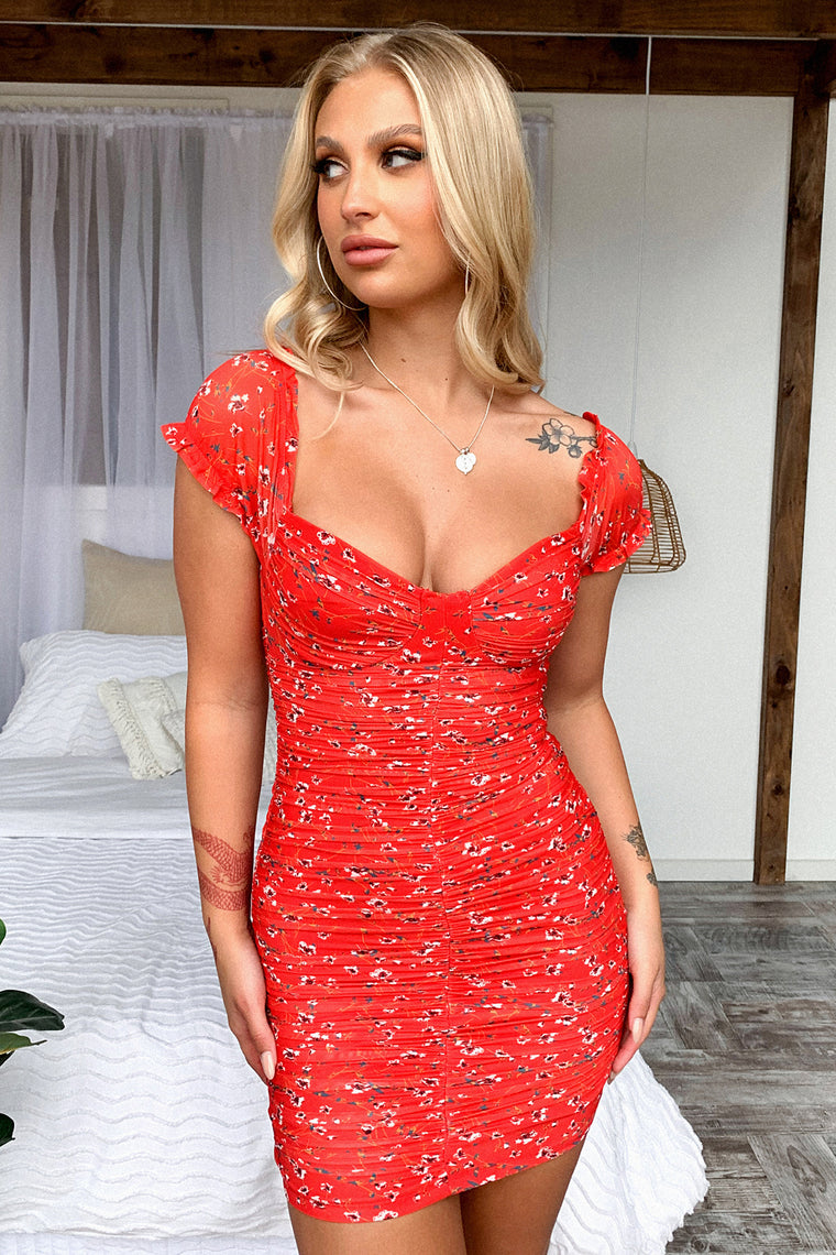 Lynx Dress - Red Floral