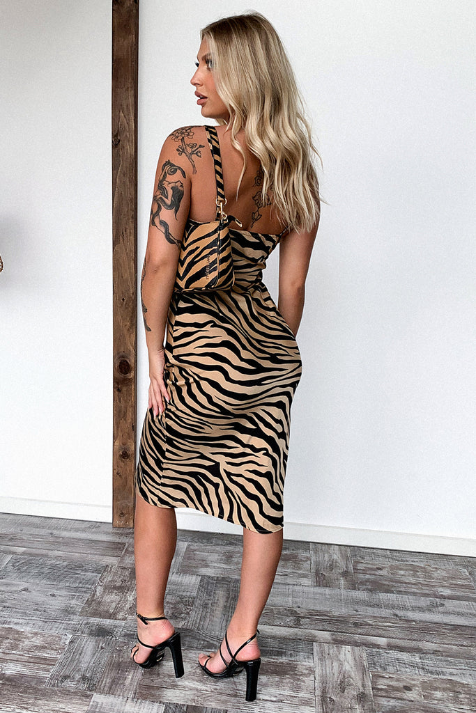 Mimosa Dress - Brown Zebra Print