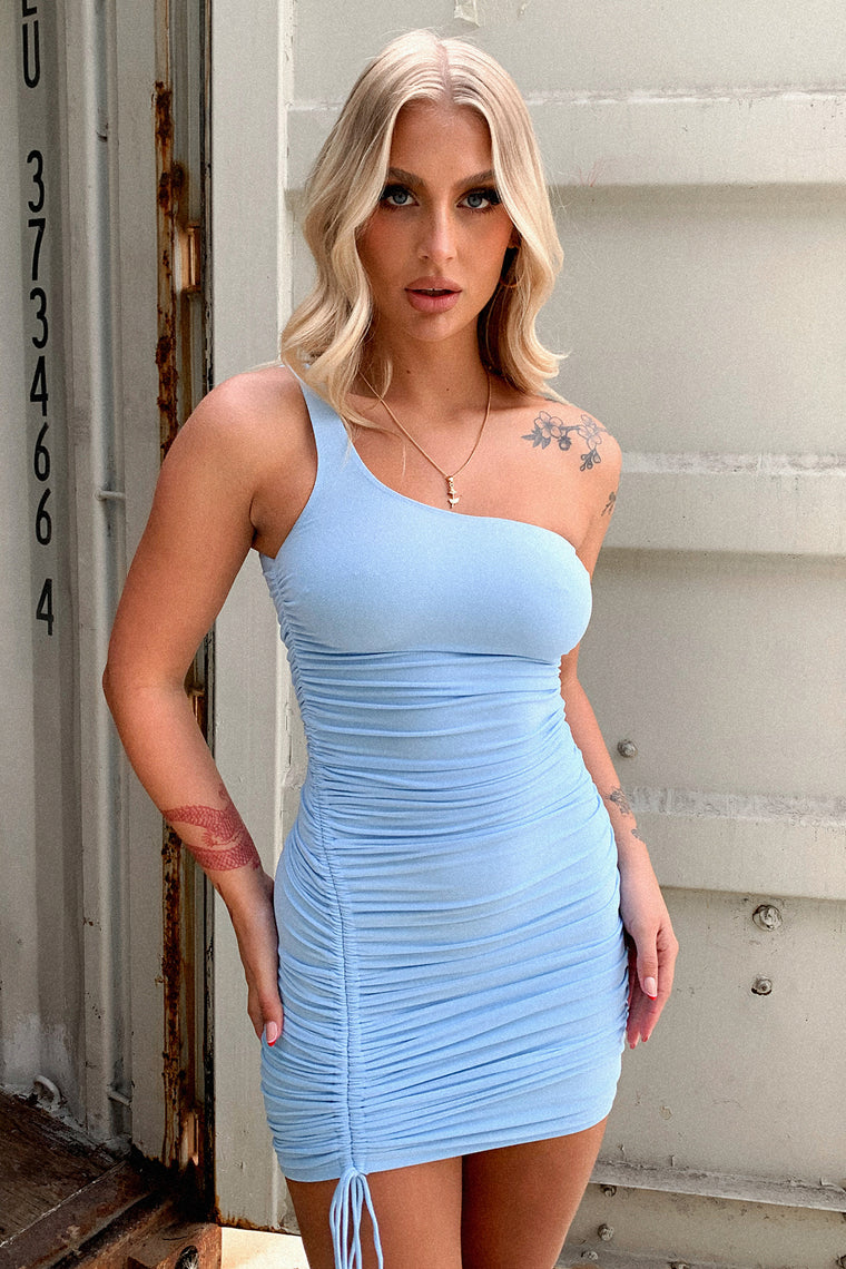Paityn One Shouldered Dress - Blue