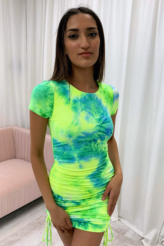 Samson Dress - Yellow / Green Tie Dye