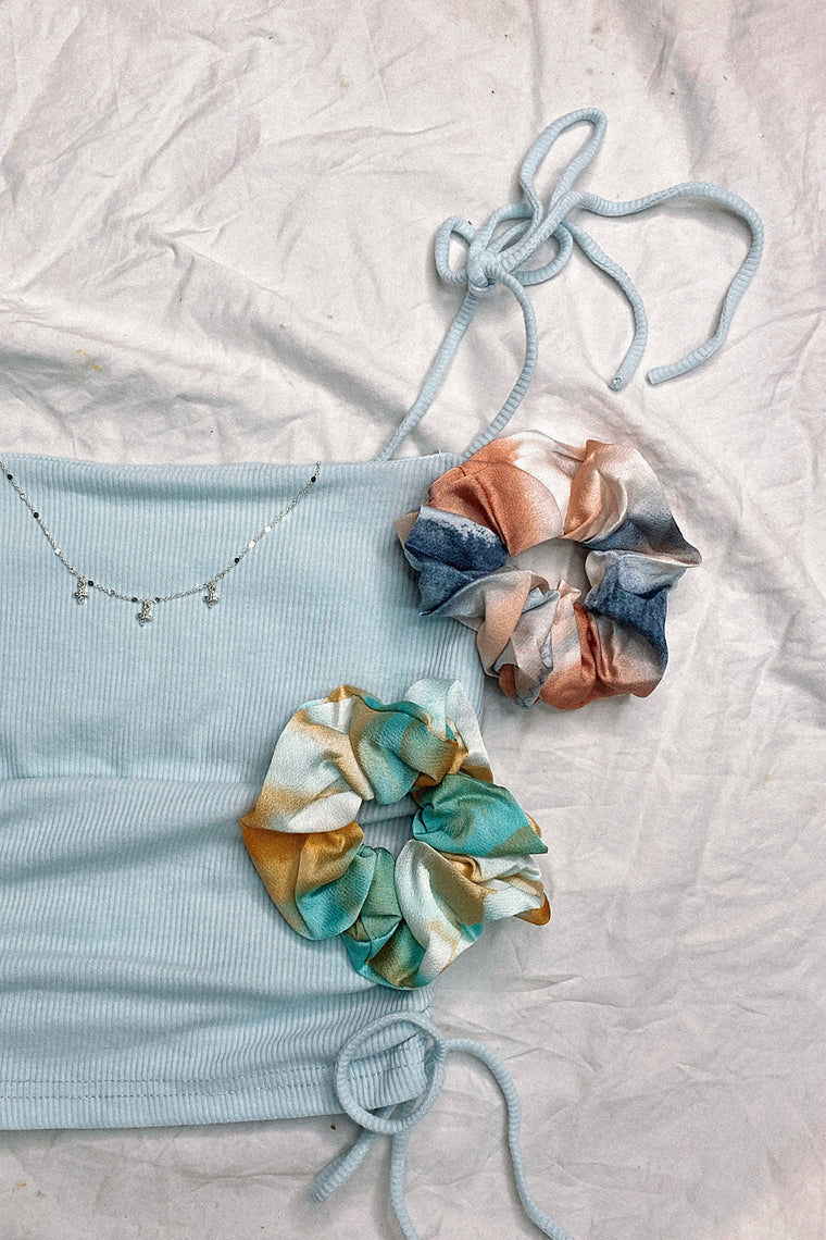 Scrunchie 2 Pack - Aqua/Orange & Navy Blue/Rust