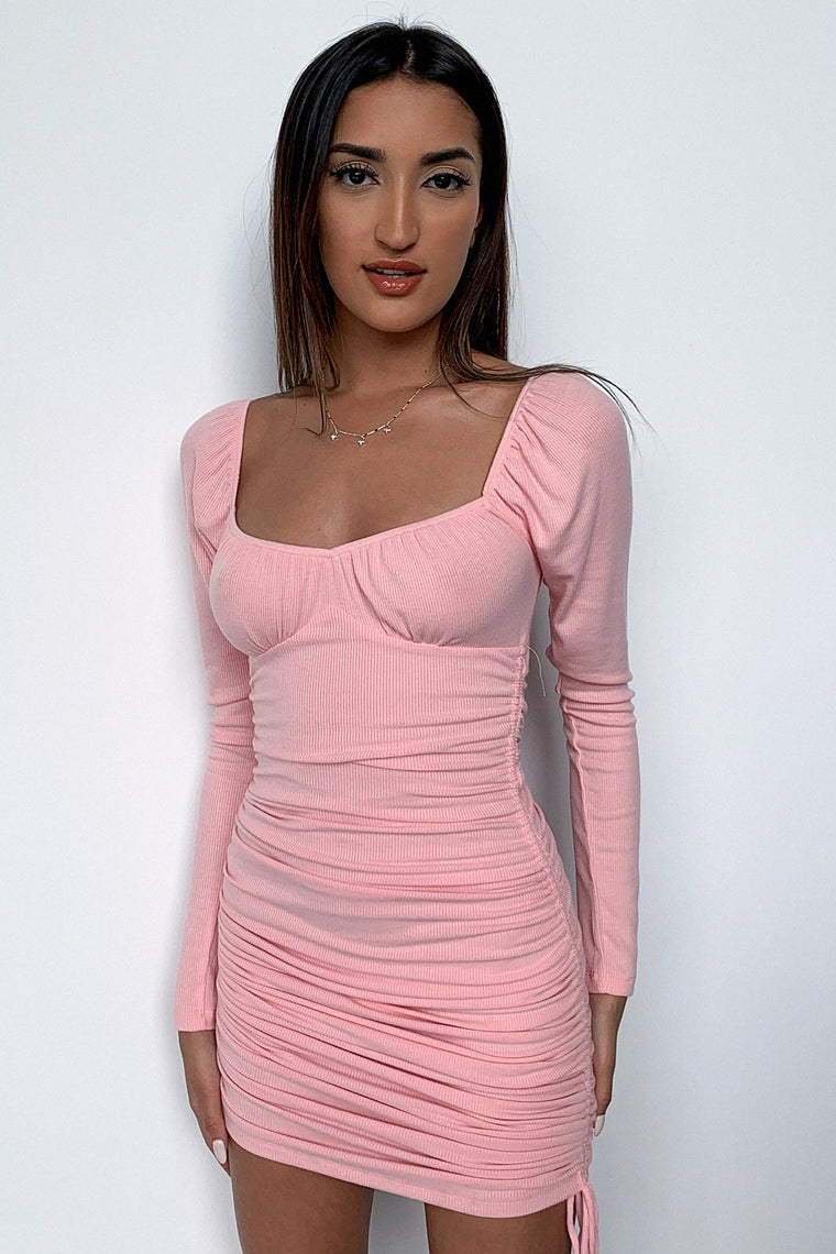 Terri Long Sleeve Dress - Pink
