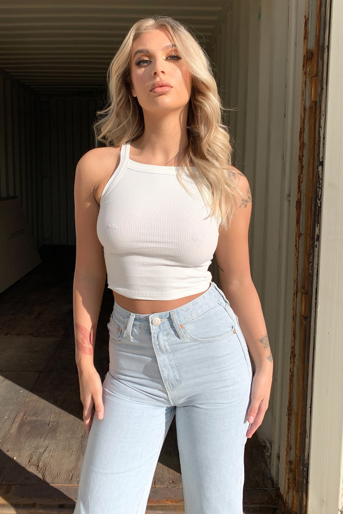 Alondra Tank Crop - White