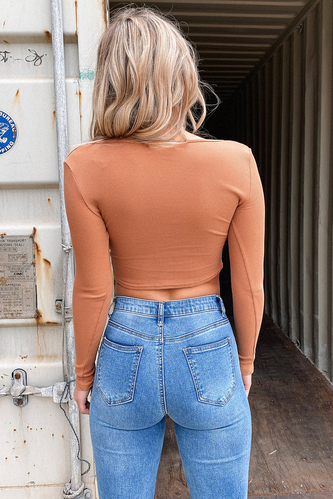 Gemma Long Sleeve Crop - Teddy Brown