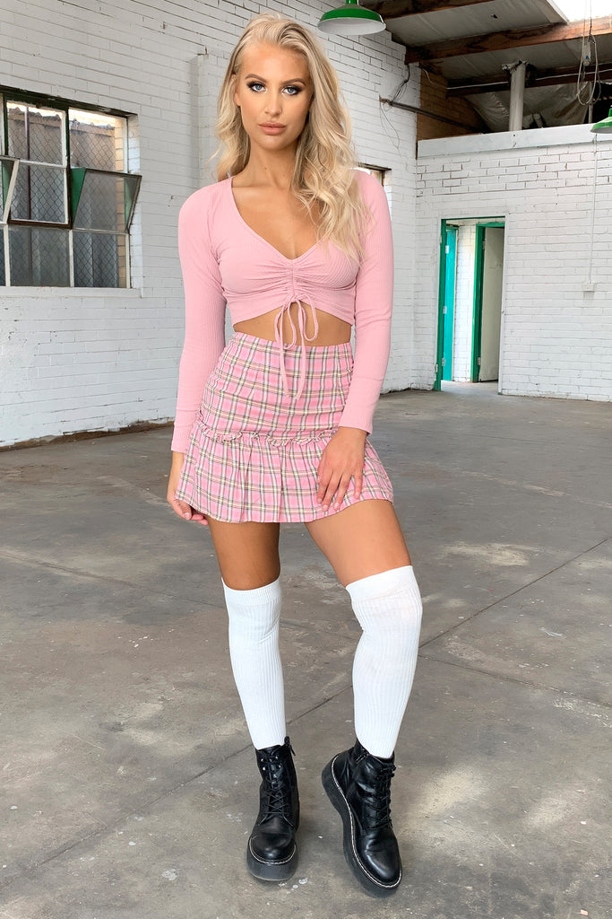 Kyrie Skirt - Pink Plaid