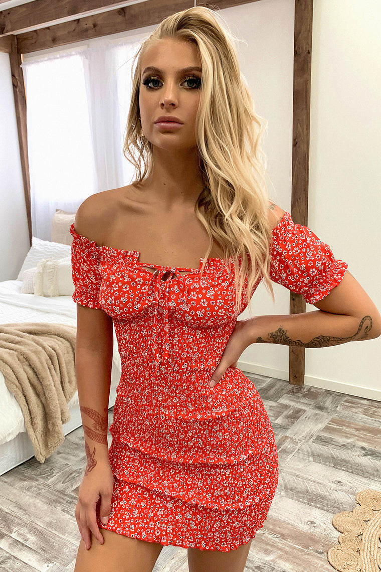 Dex Dress - Red Floral