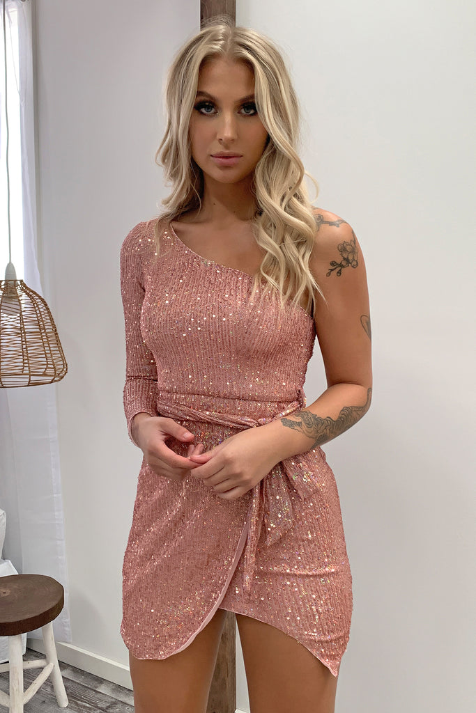 Amour One Shouldered Dress - Pink Sequin