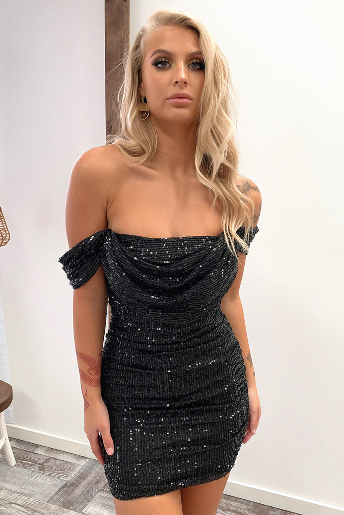 Nara Dress - Black Sequin