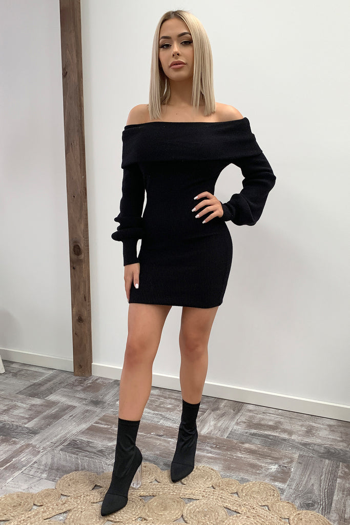 Corbin Knitted Dress - Black