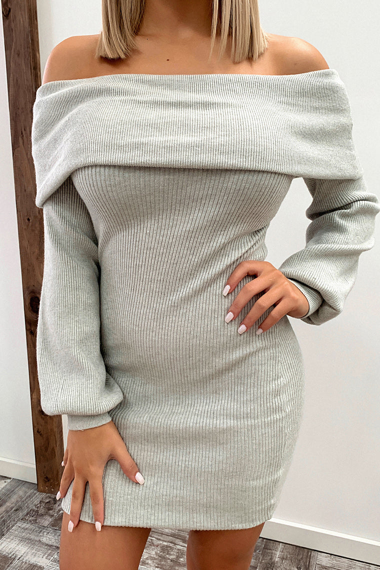 Corbin Knitted Dress - Grey