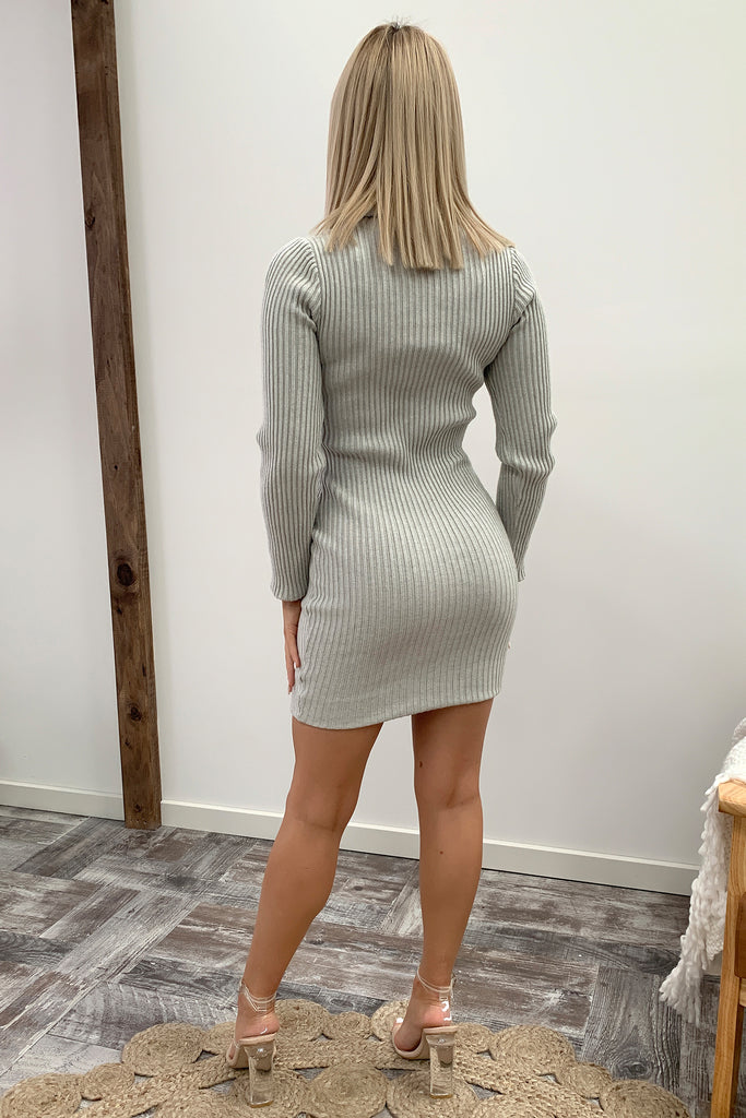 Charlotte Knitted Dress - Grey