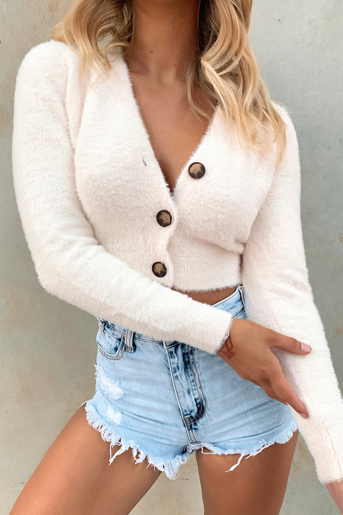Suga Fluffy Knitted Cardi - Light Peach