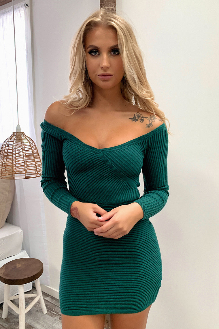 Julia Knitted Dress - Emerald