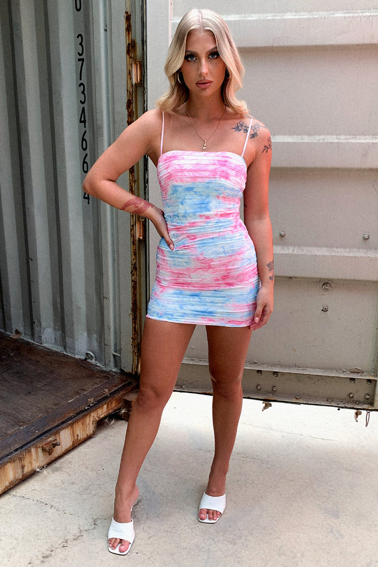 Zuhrah Dress - Pink/Blue Tie Dye