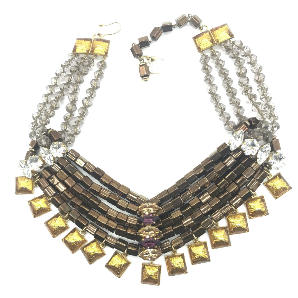 vintage YSL necklace with tubular beads and crystals