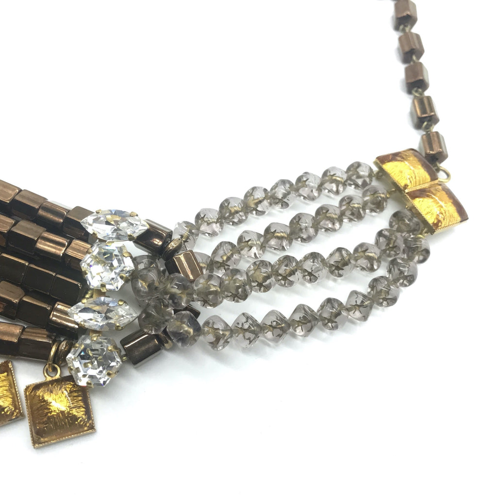 YSL necklace with crystals and tubular beads