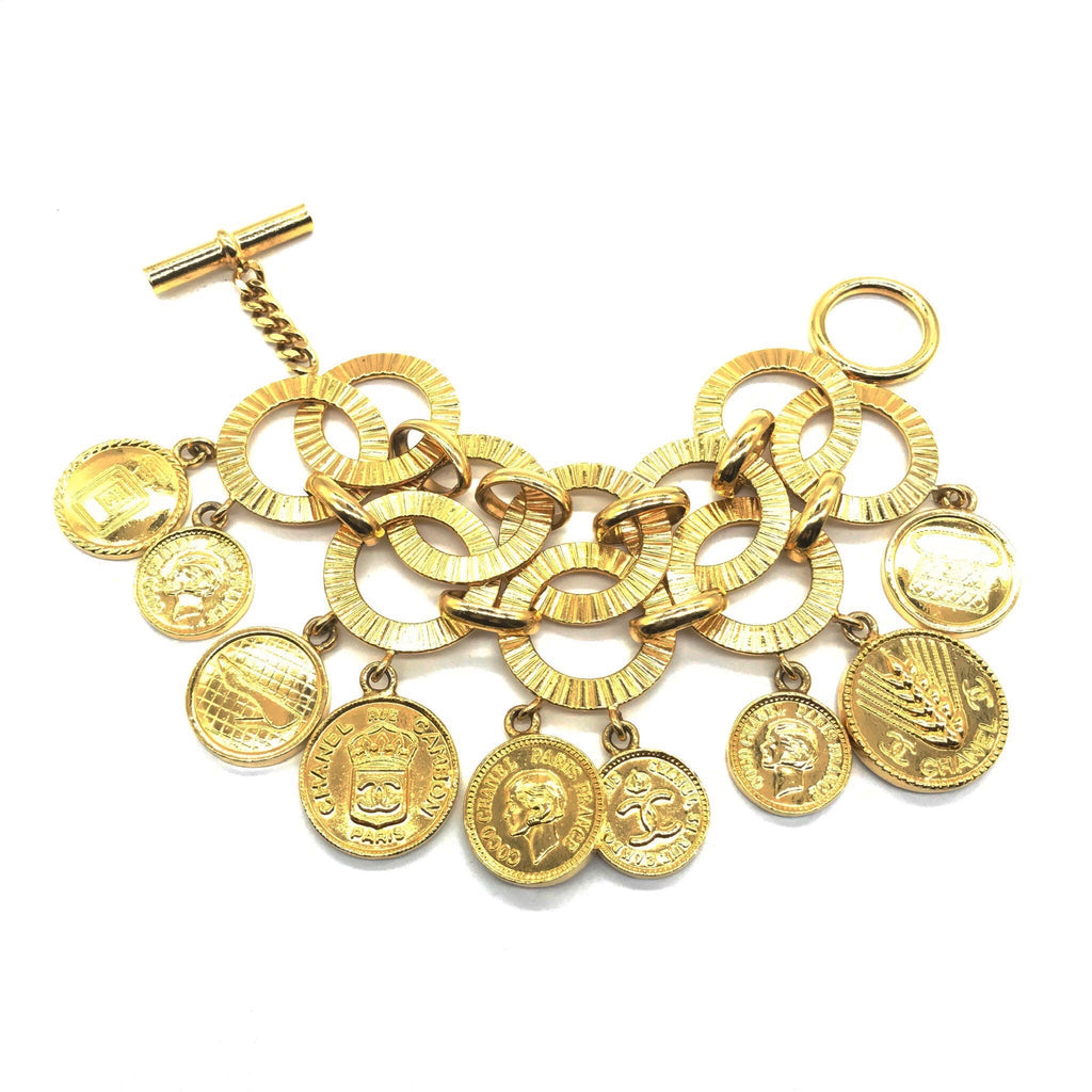 vintage chanel double chain coin charm bracelet