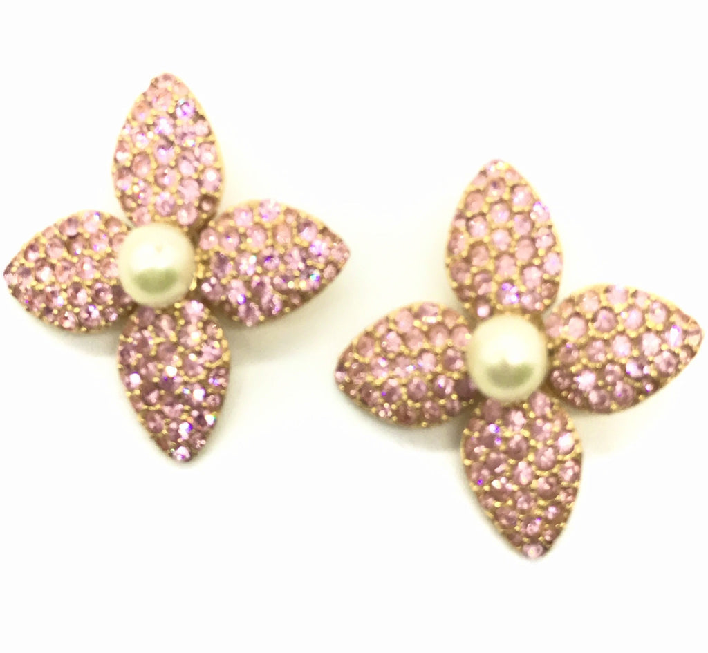YSL Pink earrings with pearl and rhinestones