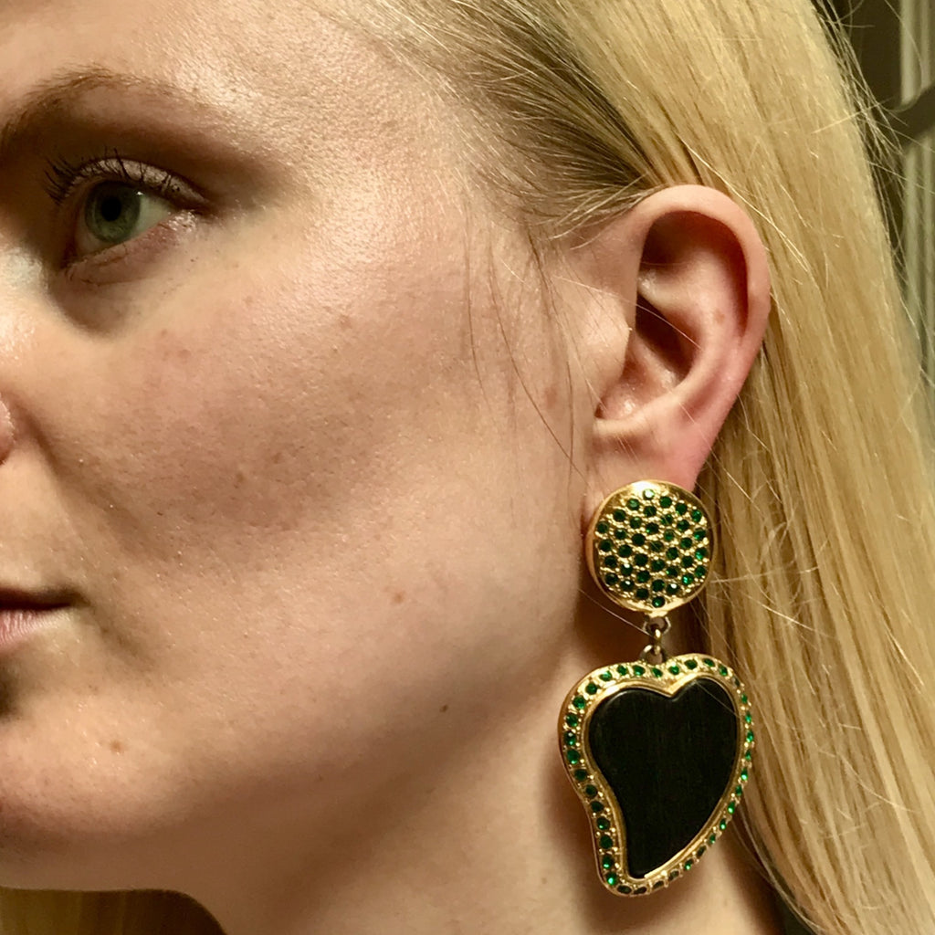 Vintage YSL ebony heart earrings