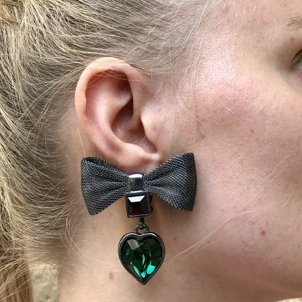 YSL mesh bow earrings