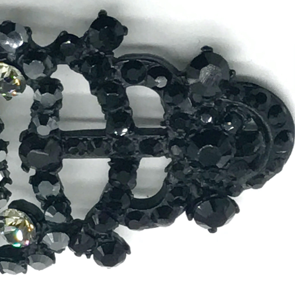 Christian Lacroix Brooch/Pendant with Clear and Black Crystals
