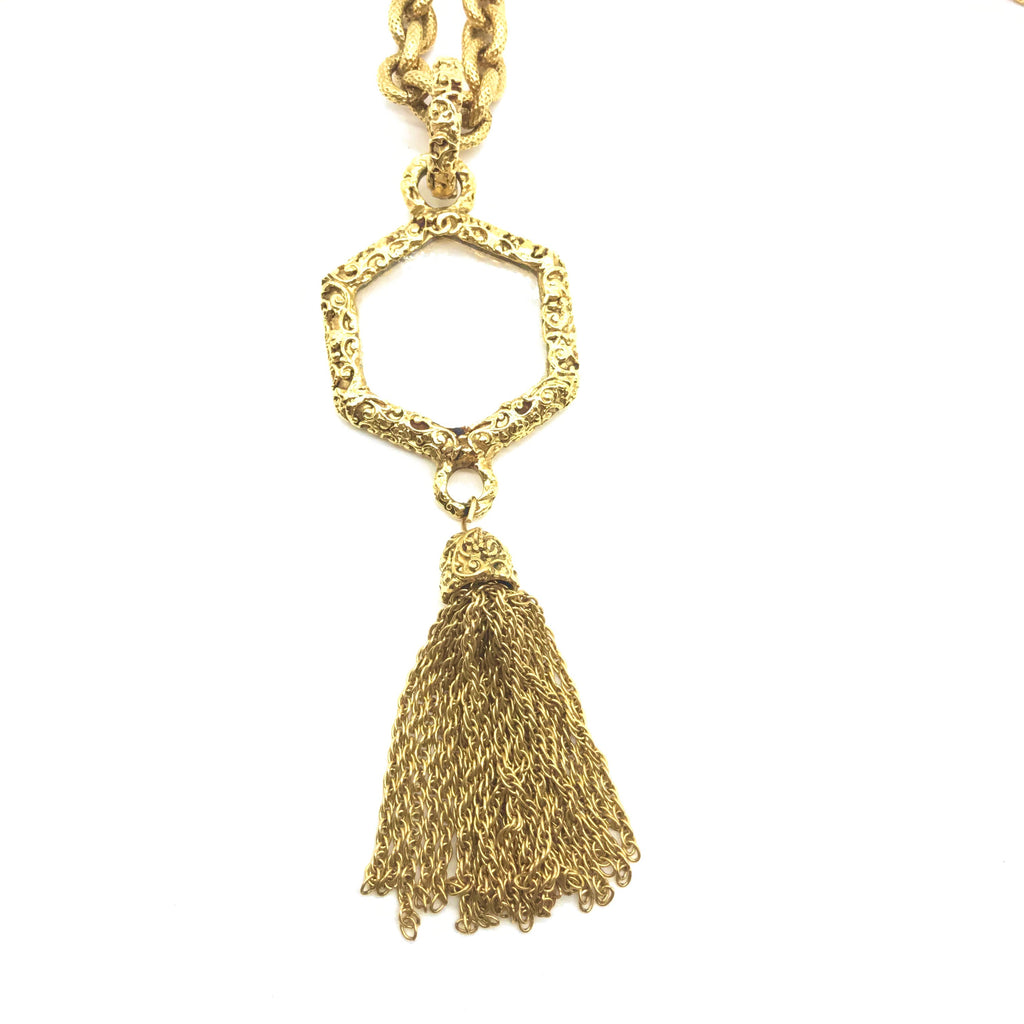 Vintage Chanel Hexagonal Loupe Necklace with Tassel