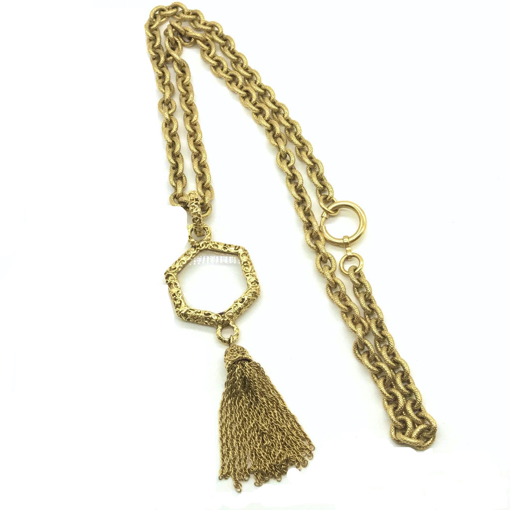 vintage chanel loupe necklace with tassel