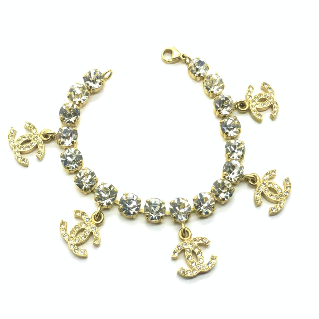 chanel bracelet with rhinestone CC charms