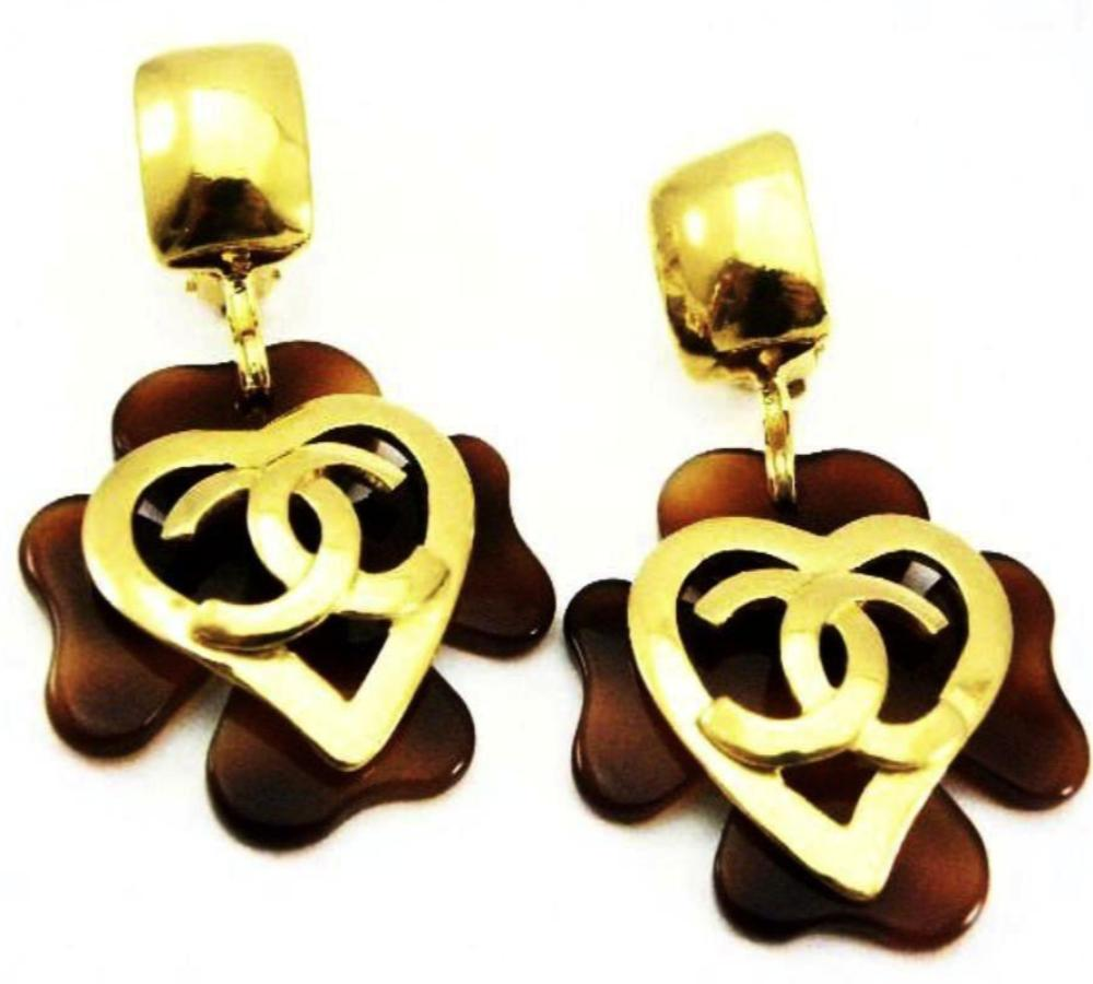 chanel tortoise earrings with heart