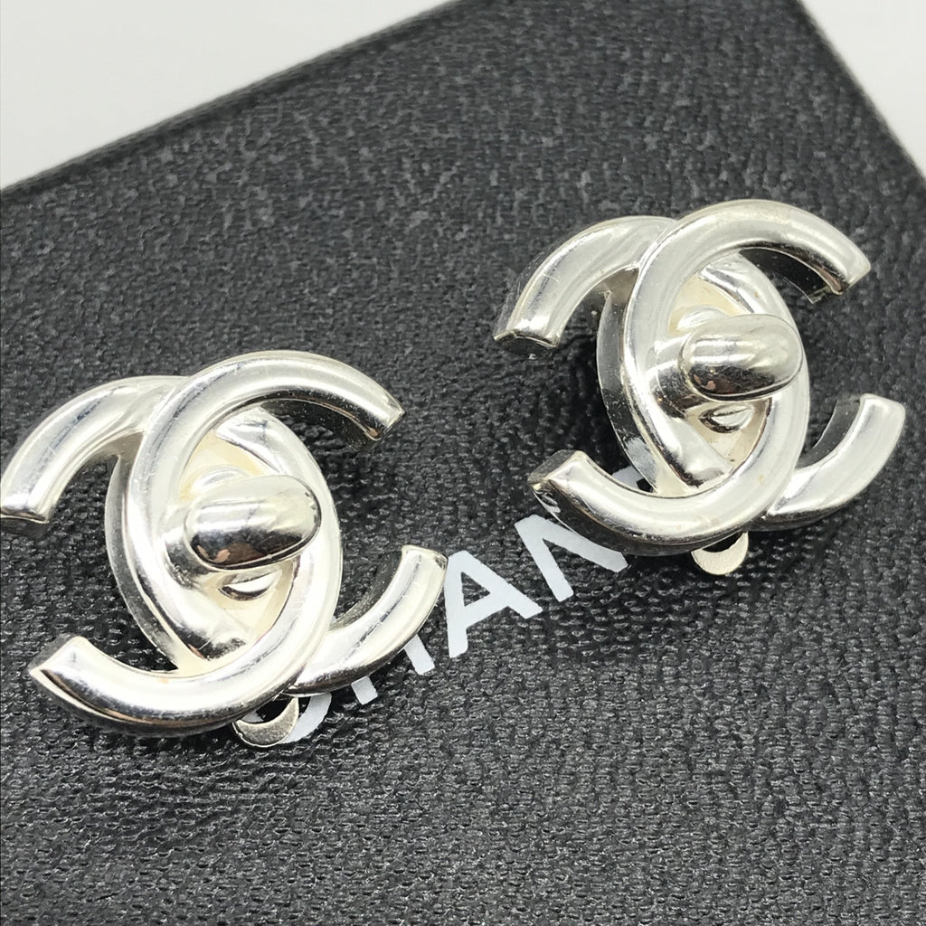 Chanel Silver Turnlock Earrings