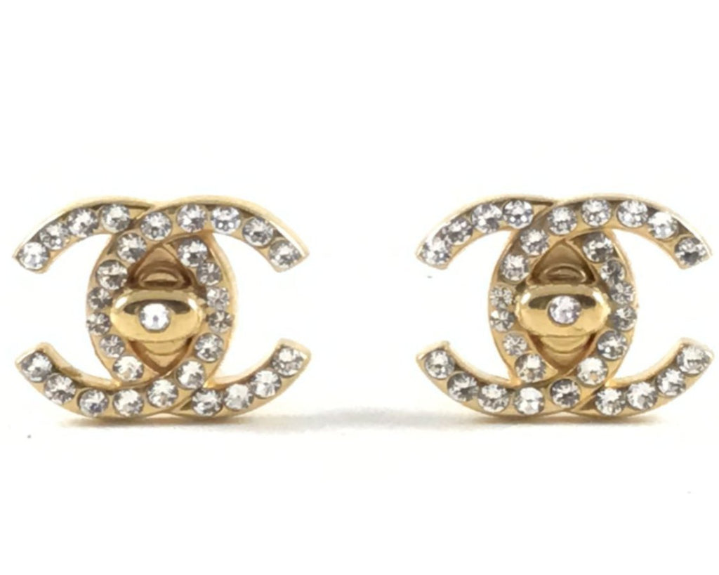 vintage chanel crystal turnlock earrings