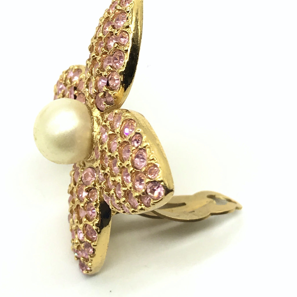 Vintage YSL Yves Saint Laurent Pink Pave and Pearl Earrings