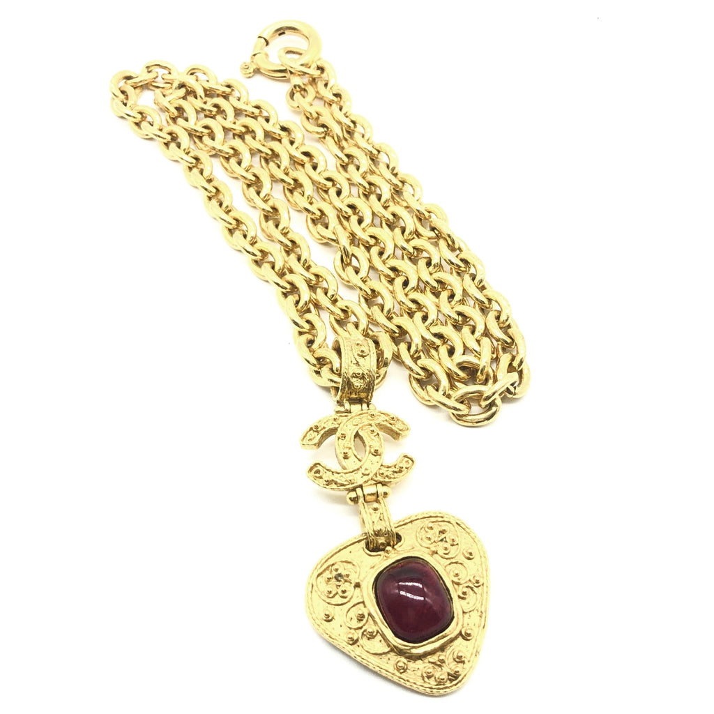 vintage chanel red heart pendant necklace