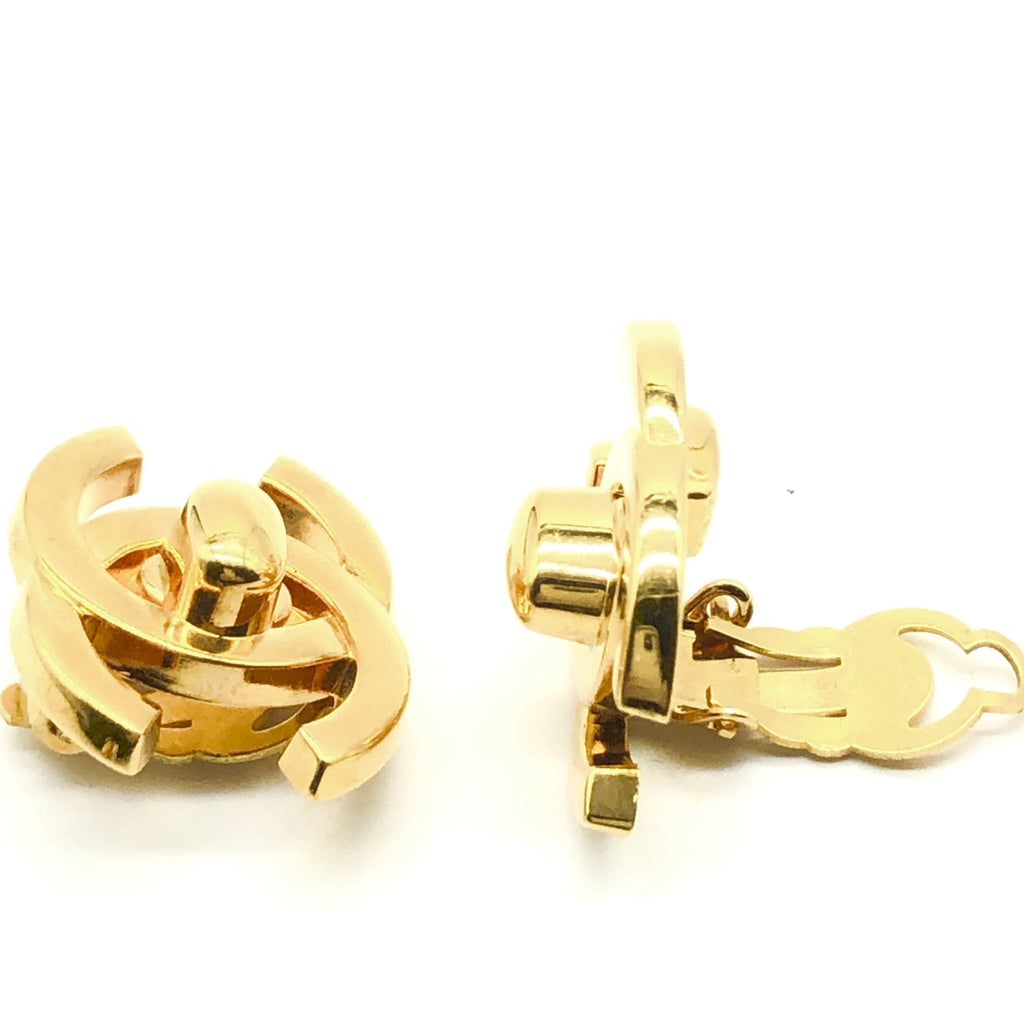 Vintage Chanel Large Gold Turnlock Earrings