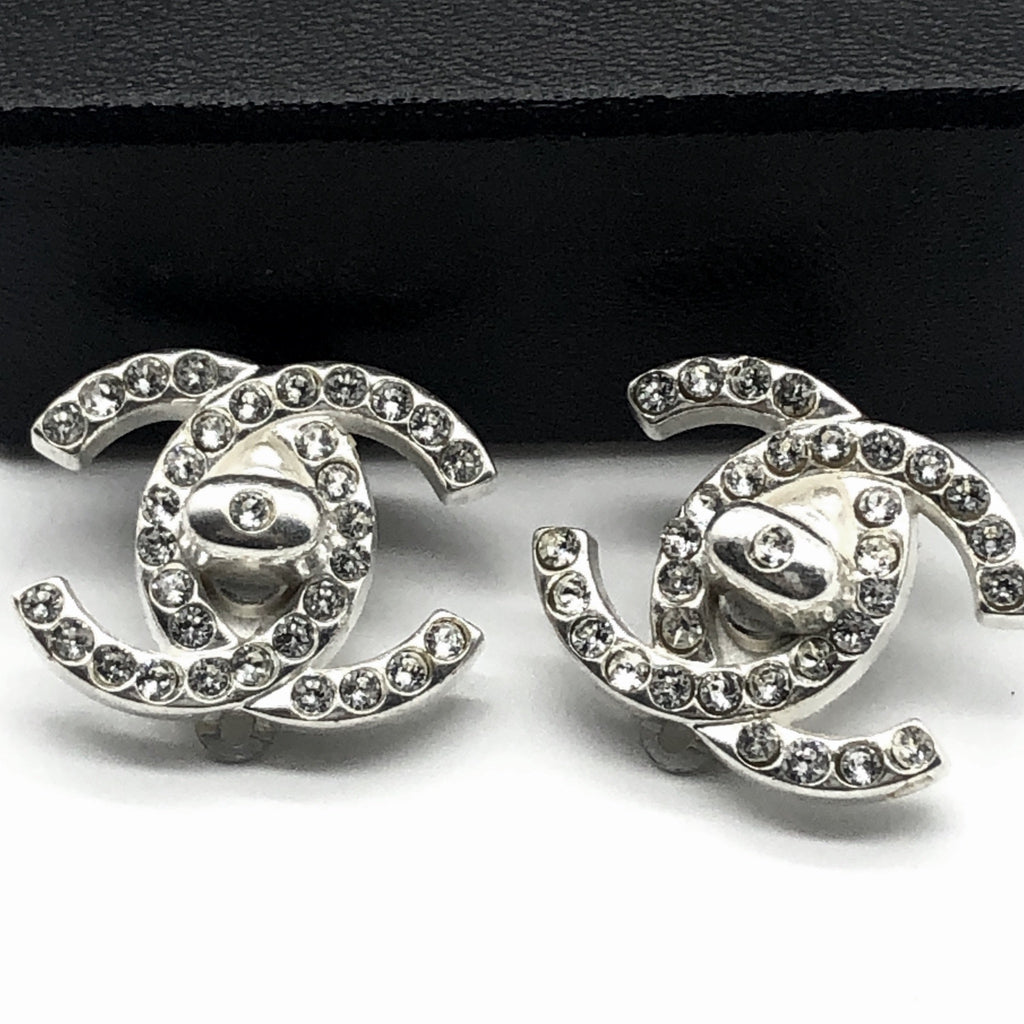 Vintage Chanel Large Silvertone Turnlock Earrings with Crystals
