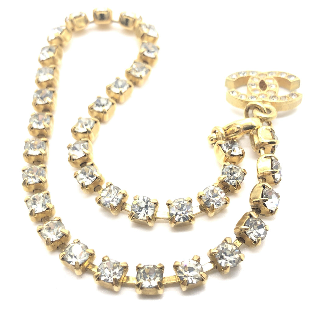 Vintage Chanel Crystal Anklet with CC Charm